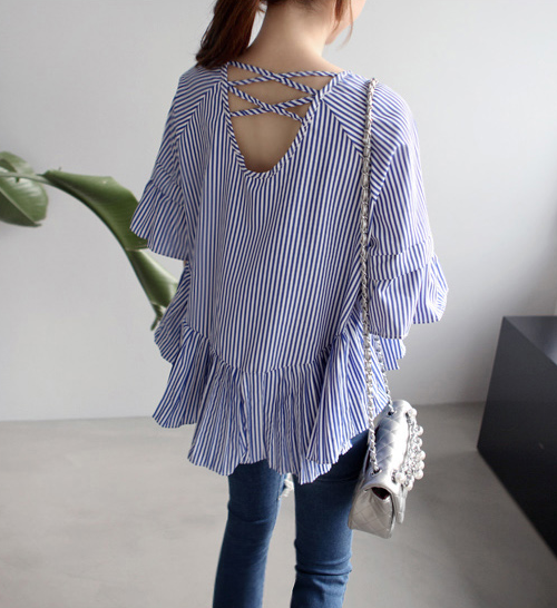 Striped Ruffled Blouse