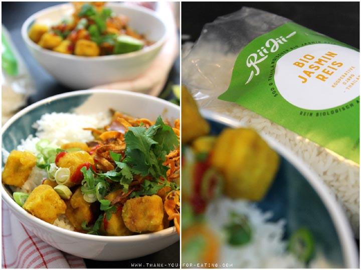Süß-scharfe Tofu-Bowl - Mit Rii Jii Bio-Reis | Werbung