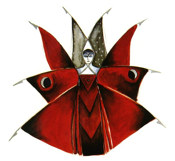 COLORATURA CORONATION: A design sketch for Die Königin der Nacht's costume in Julie Taymor's production of Wolfgang Amadeus Mozart's DIE ZAUBERFLÖTE for The Metropolitan Opera [Image © by Julie Taymor]