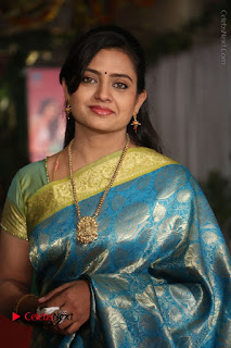 Actress Indraja Stills in Blue Silk Saree at Shatamanam Bhavathi Audio Launch  0026.JPG