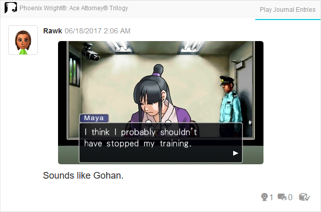 Maya Fey training detention center Gohan Phoenix Wright Ace Attorney Trilogy 3DS Miiverse Capcom Nintendo