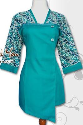 Contoh Baju Batik Atasan Motif 2 Warna