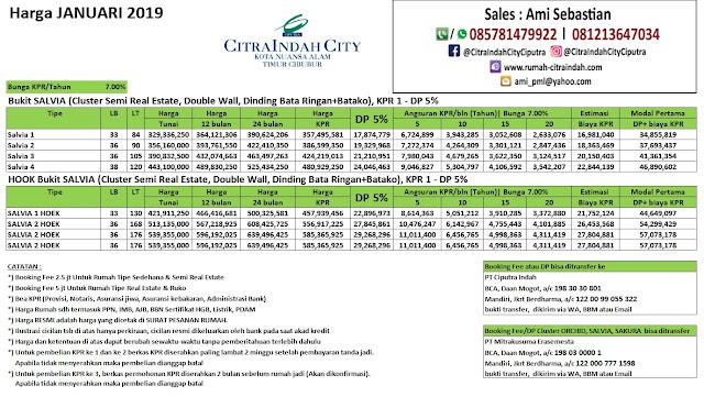 Harga Cluster Bukit SALVIA Citra Indah City Januari 2019
