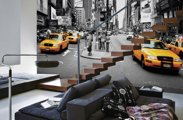 New York Tapetti Mustavalkoinen Taxi