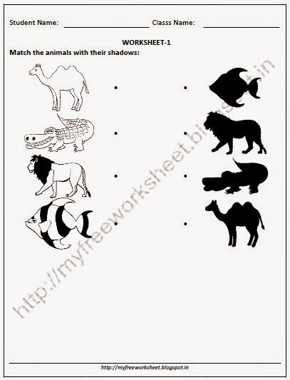 NURSERY EVS worksheets for Match the animals with their shadow ...