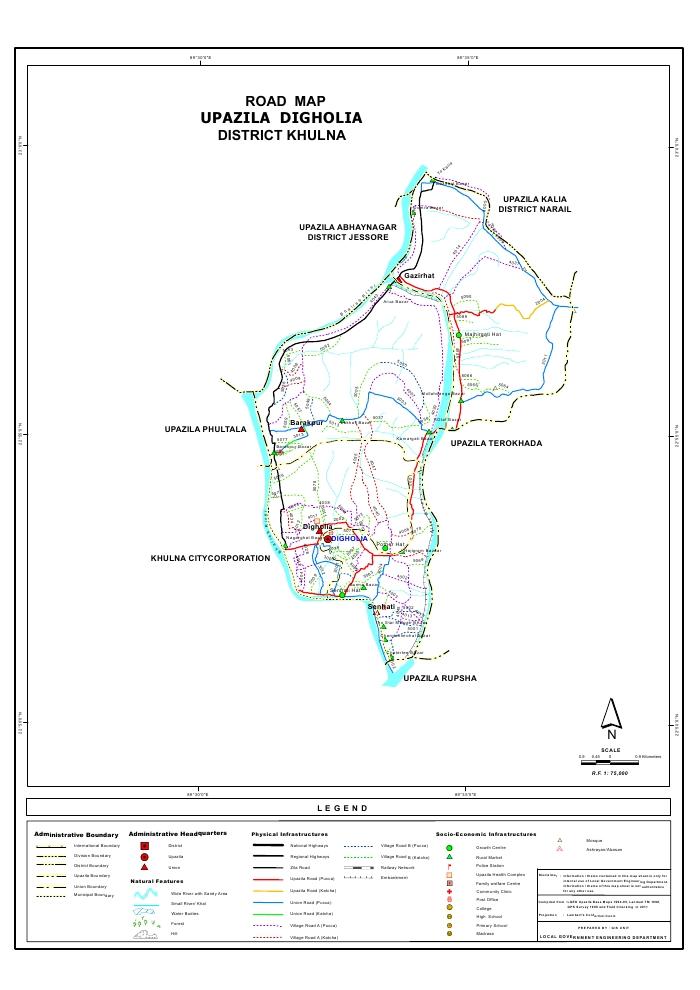 Dighalia Upazila Road Map Khulna District Bangladesh