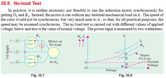 No load test and block rotor test on a Three phase Induction