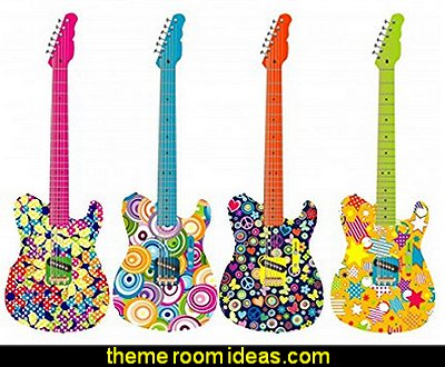 Flower Power Guitars Peel and Stick Wall Decals