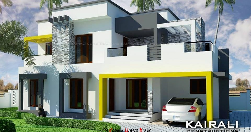 Double Floor Modern Elevation : Double floor contemporary house design with bed rooms