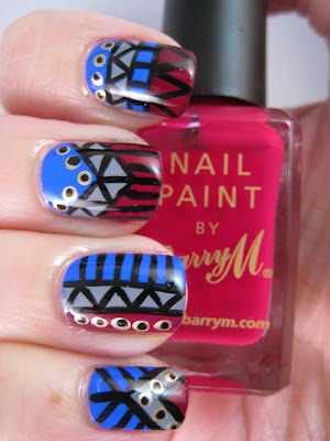 Tribal-nail-art-blue-grey-red-gold-Barry-M-Raspberry