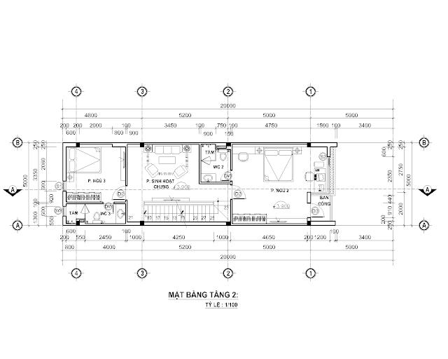 Bố trí mặt bằng tầng hai nhà phố 5x 20 mét
