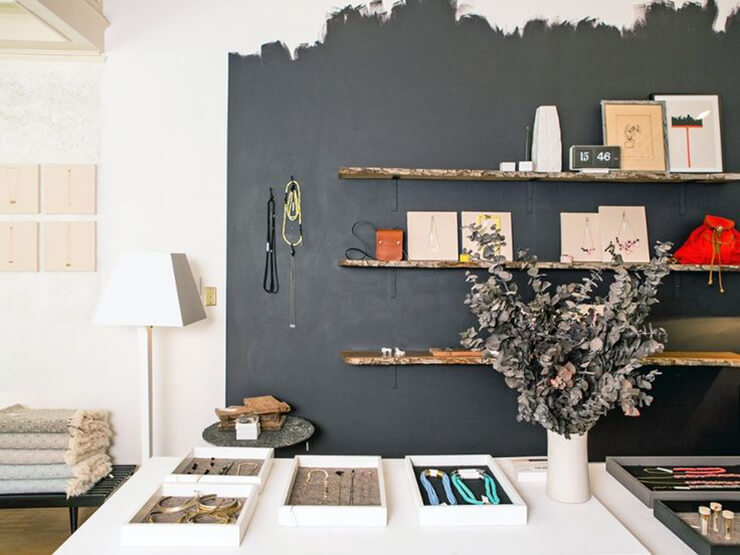 black wall wooden shelves