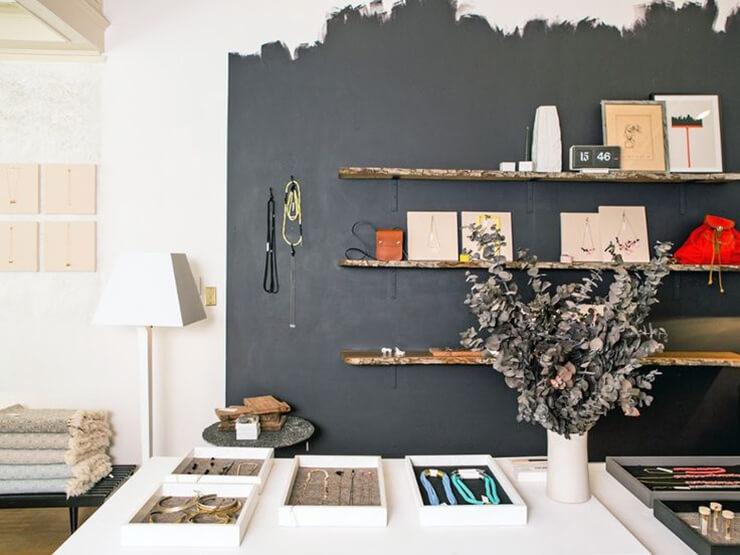black wall wooden shelves