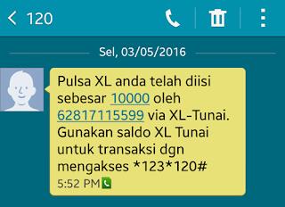 SMS konfirmasi dari Cashtree
