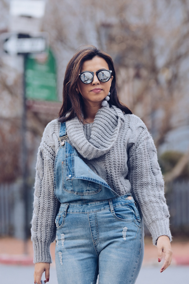 denim Overall And A Cable Sweater Outfit-street style by MariEstilo