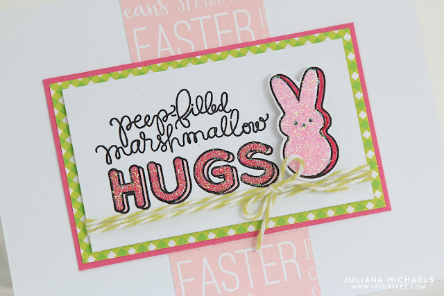 Peep Filled Hugs Bunny Easter Card with stamping and glitter by Juliana Michaels featuring Simon Says Stamp March 2016 Card Kit