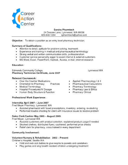 pharmacy assistant resume examples - Resume Examples For Pharmacy Technician