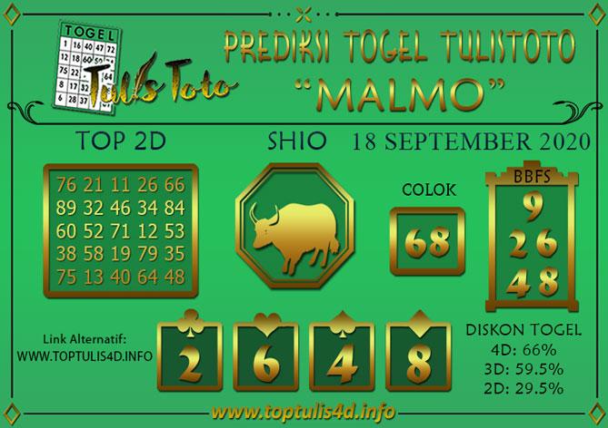 Prediksi Togel MALMO TULISTOTO 18 SEPTEMBER 2020