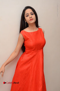 Telugu Actress Divya Nandini Stills in Orange Sleeveless Gown at Chennai Chaitrama Movie le Launch Event  0075.JPG