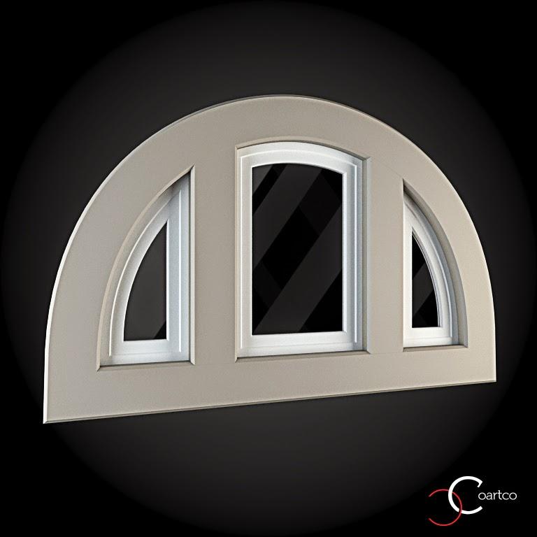 Ornameate Geamuri Rotunde Exterior, fatade case cu profile decorative polistiren, profile fatada,  Model Cod: WIN-075