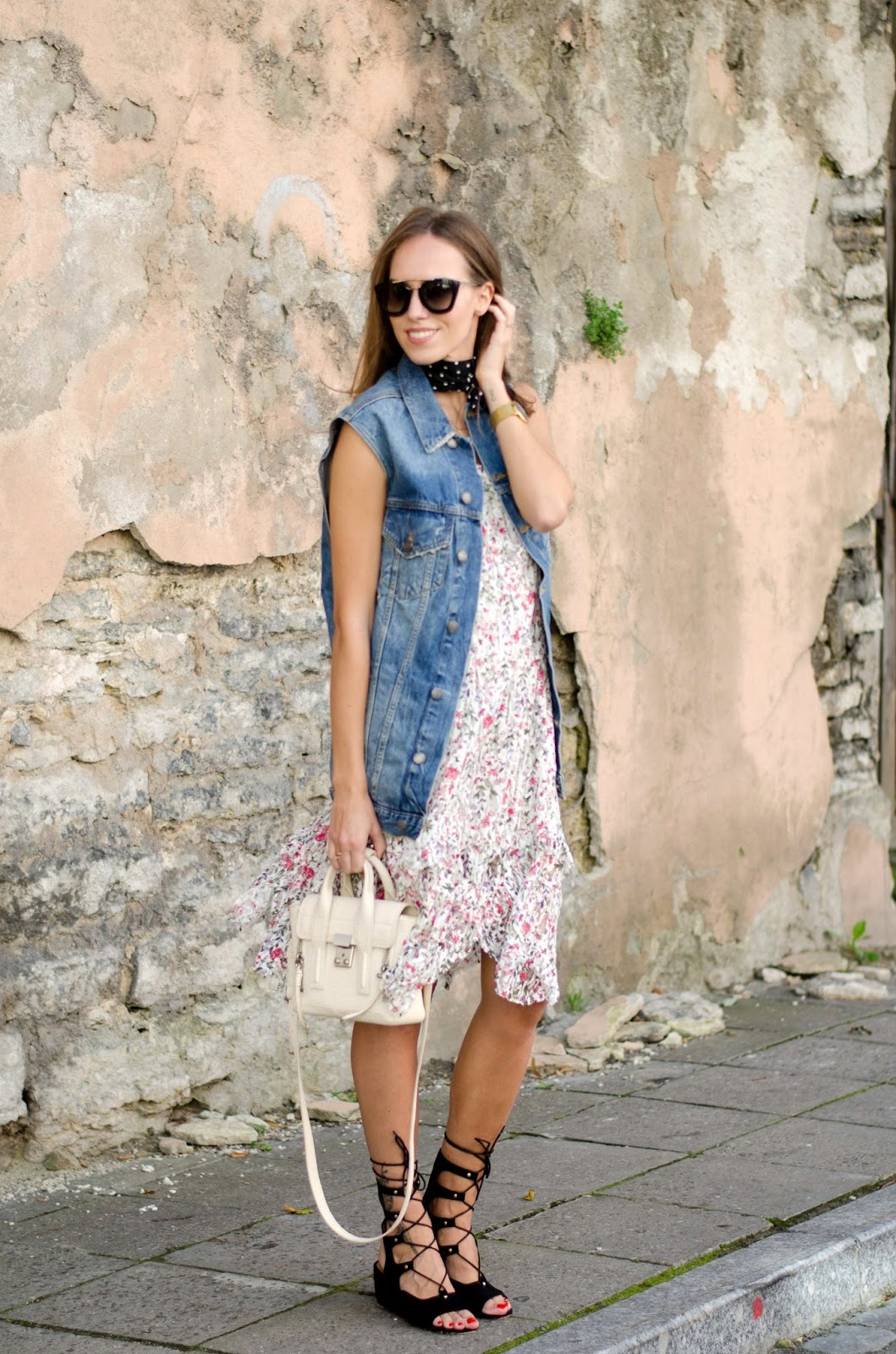 floral dress denim vest summer style