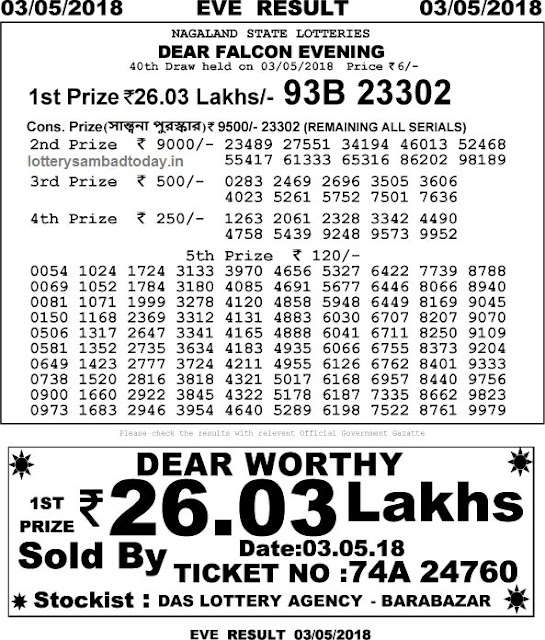 lottery sambad 3 may 2018 8pm result