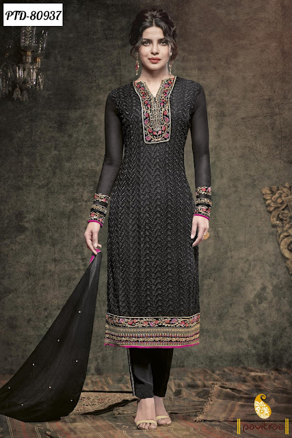 Bollywood Actress Priyanka Chopra Black Color Salwar Kameez and Dresses Online Shopping
