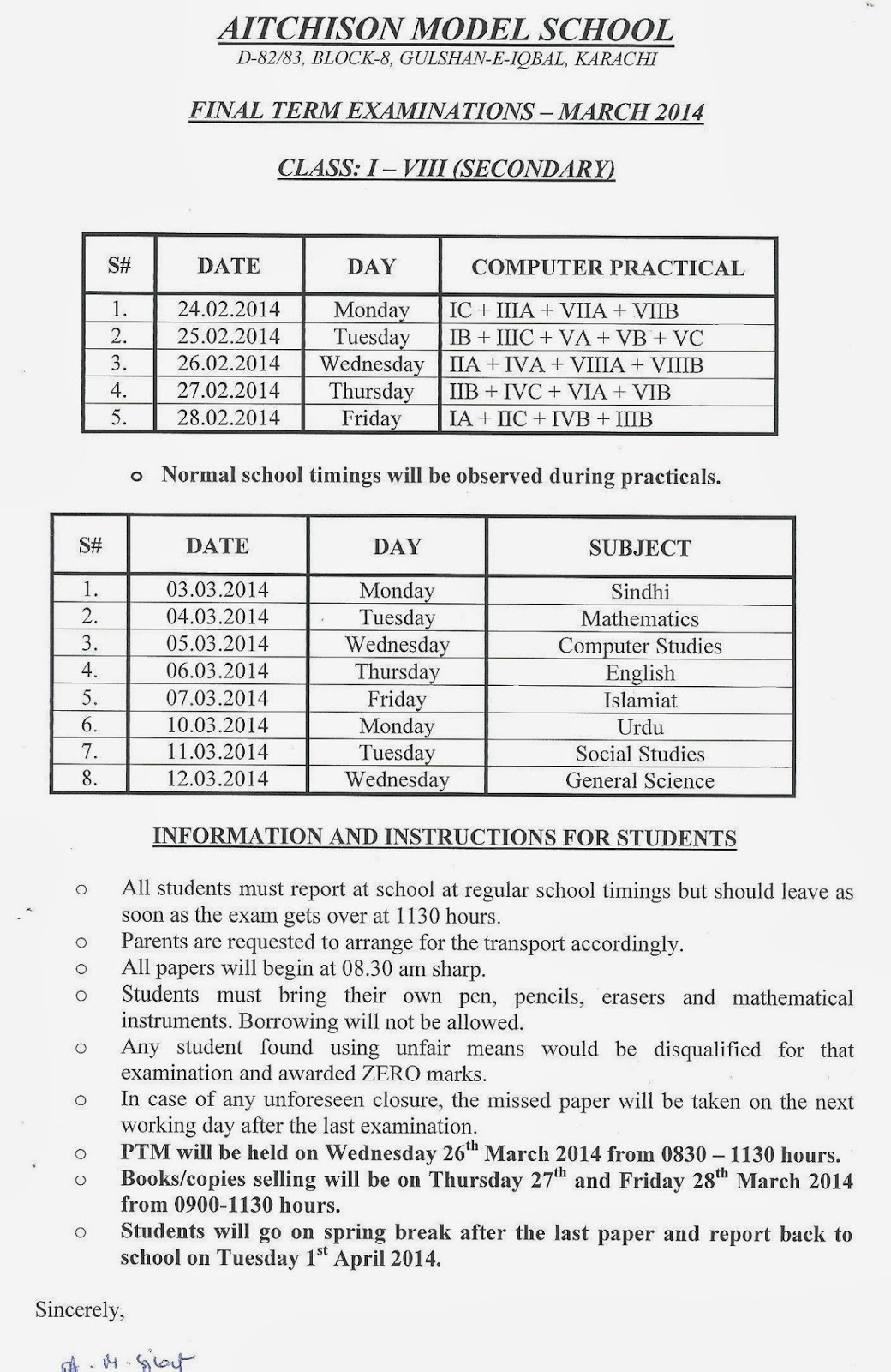 AMS: Final Term Exam date sheet March 2014 Class 1 to 8