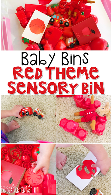 This red themed sensory bin is great for learning colors and completely baby safe. These Baby Bin plans are perfect for learning with little ones between 12-24 months old.