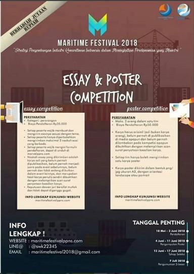 Maritime Festival Lomba Essay & Poster Competition 2018 Umum di Kampus Politeknik Perkapalan Negeri Surabaya Deadline 2 Juni 2018