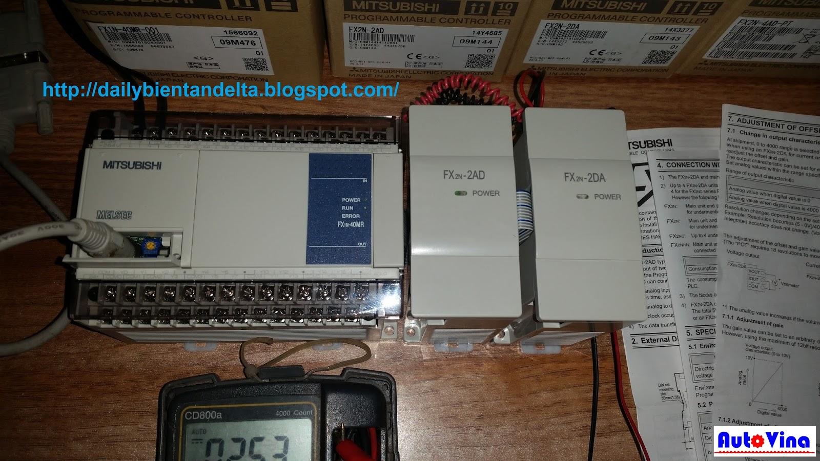 Tổng đại lý bán PLC FX1N-40MR + Module FX2N-2AD + Module FX2N-2DA
