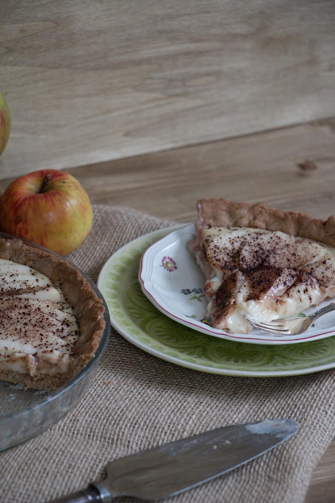 Birnenkuchen mit Kardamom-Zimt-Pudding