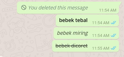 Cara Ubah Tulisan Jadi Tebal, Miring dan coret di aplikasi WhatsApps
