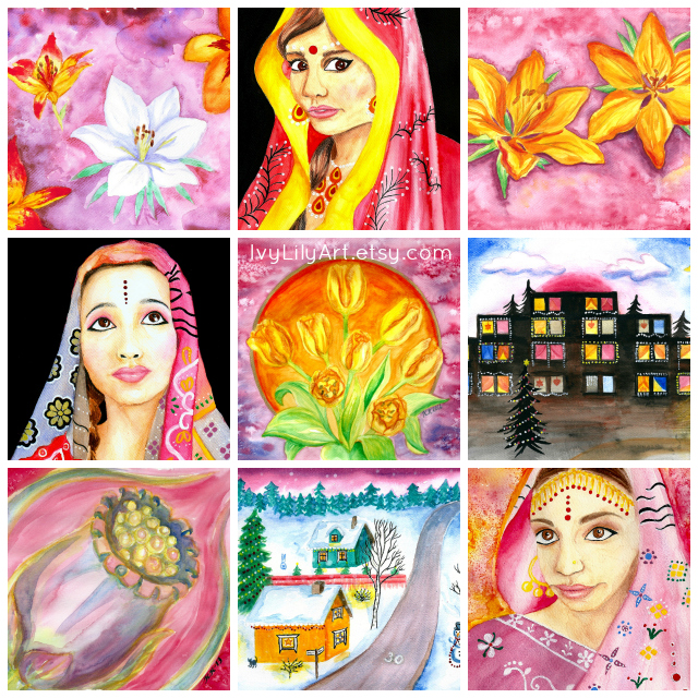 Artwork collection in video form + watercolor painting wall art home decor for sale on Etsy + art and craft resource freebies.