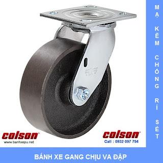 Bánh xe gang xám bánh xe đẩy chịu tải (410~450kg) www.banhxepu.net