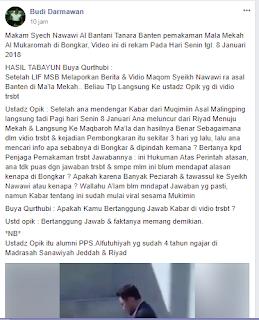 Arab Saudi Bongkar Makam Syekh Nawawi Banten