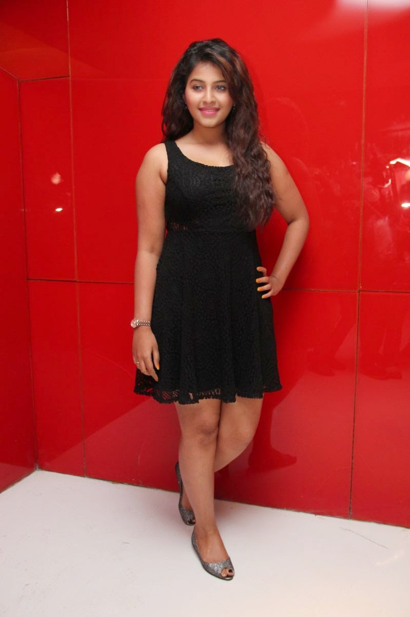 Actress Anjali Long Hair Photos in Short Black Dress