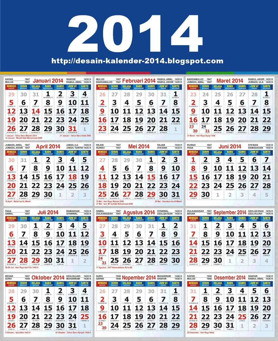 Desain Kalender 2014