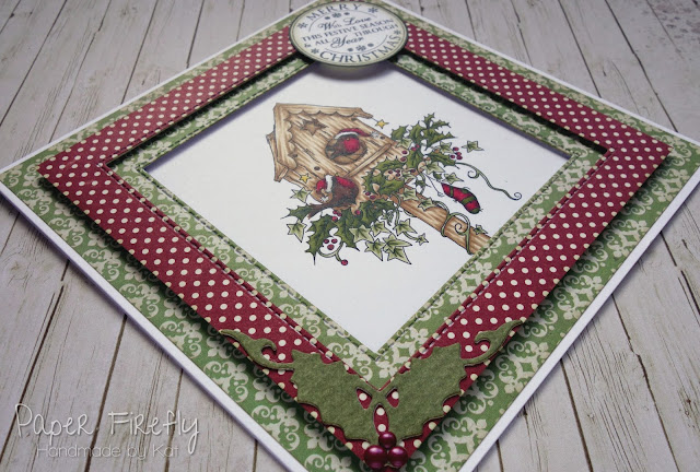 Double framed Christmas card using Christmas bird house stamp by LOTV