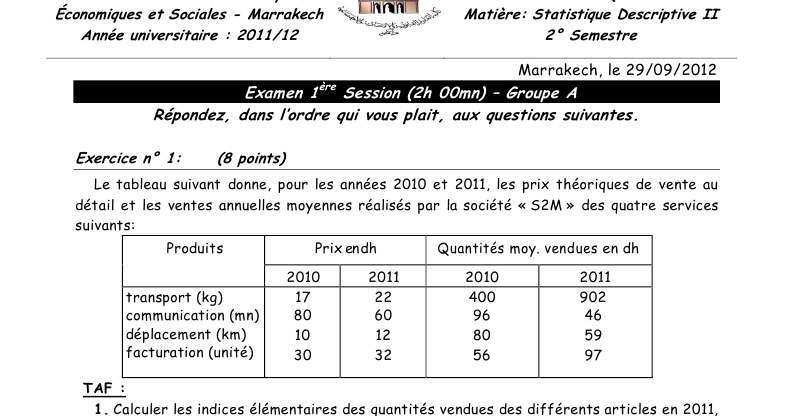 Examen Corrige Statistique Descriptive 1cours Cours En Ligne