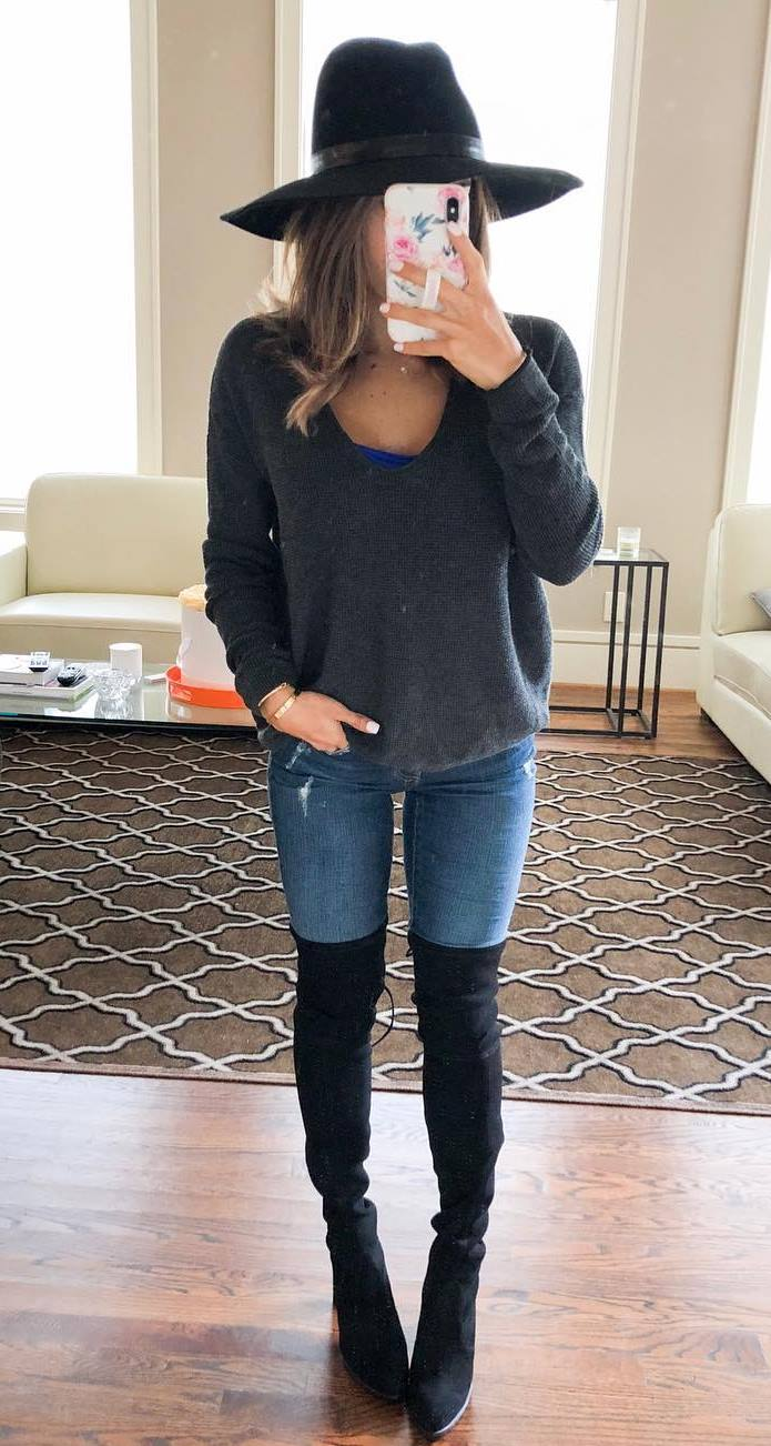 stylish look | hat + sweater + skinnies + over knee boots