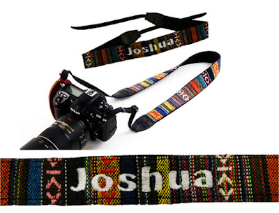 Tribal design strap with customized name embroidery by That Corner Shop