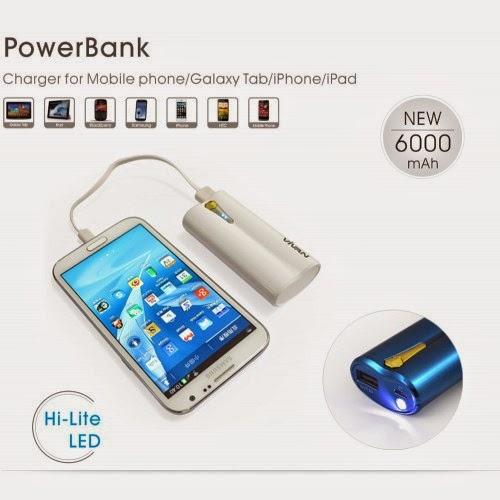 3. Dan produk yang terakhir yang akan saya rekomendasikan kepada Anda  adalah VIVAN D06 6000mAh. Powerbank ini dilengkapi dengan kapastias power  6000 mAh 2a544ada36