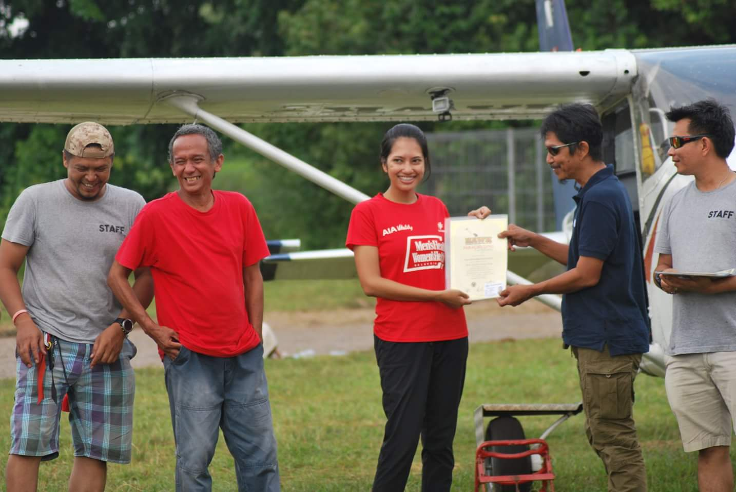 Me receiving my certificate from Hawk Skydive, Malaysia