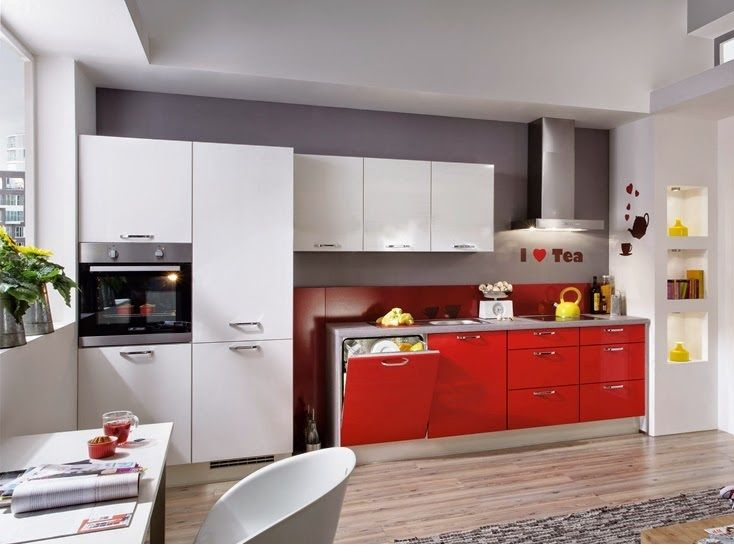 Cocinas en color rojo gris y blanco colores en casa for Decoracion de interiores color rojo