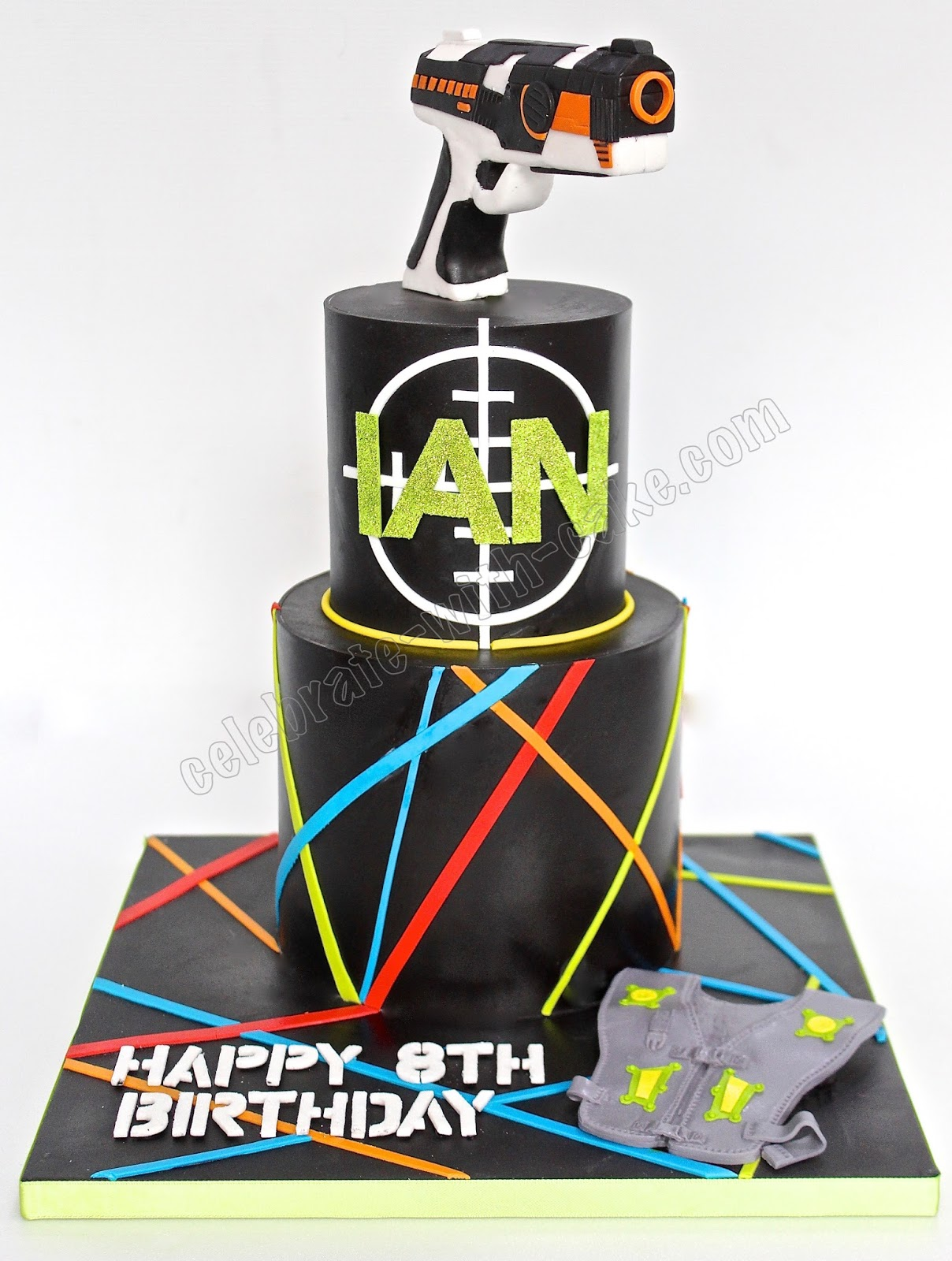 Incredible Celebrate With Cake Laser Tag 2 Tiers Cake Funny Birthday Cards Online Alyptdamsfinfo