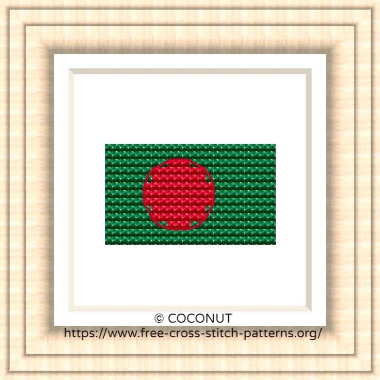 NATIONAL FLAG OF BANGLADESH CROSS STITCH CHAR