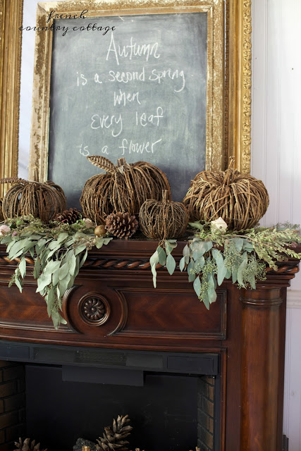 grapevine pumpkins fall mantel