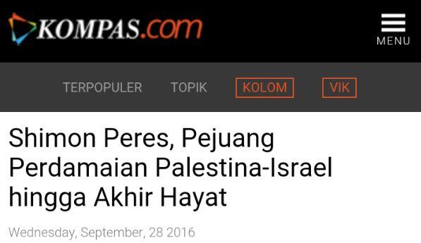 Situs Kompas Sebut Mantan Presiden Israel Sebagai Pejuang Perdamaian Palestina