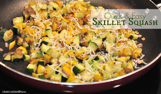 Skillet Squash is a perfect way of using up excess zucchini and summer squash.  Quick and delicious!